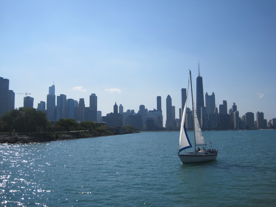 Skyline with boat